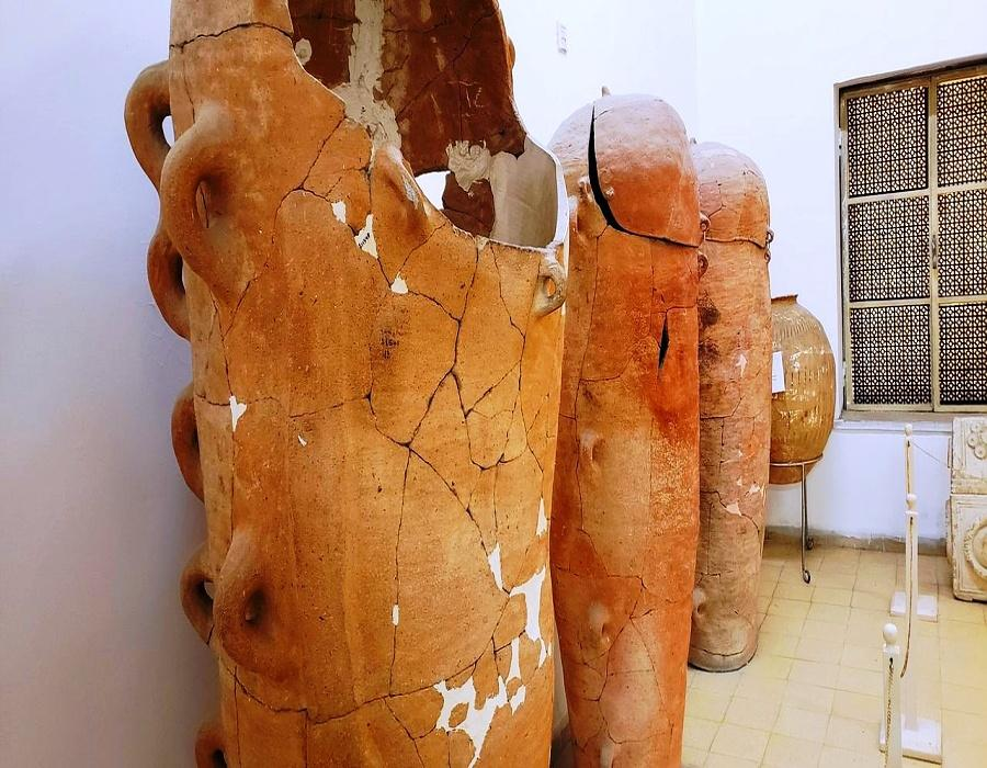 Jordan Archaeological Museum- Anthropomorphic coffins clay with crushed pieces of pottery 13th-7th cent. B.C