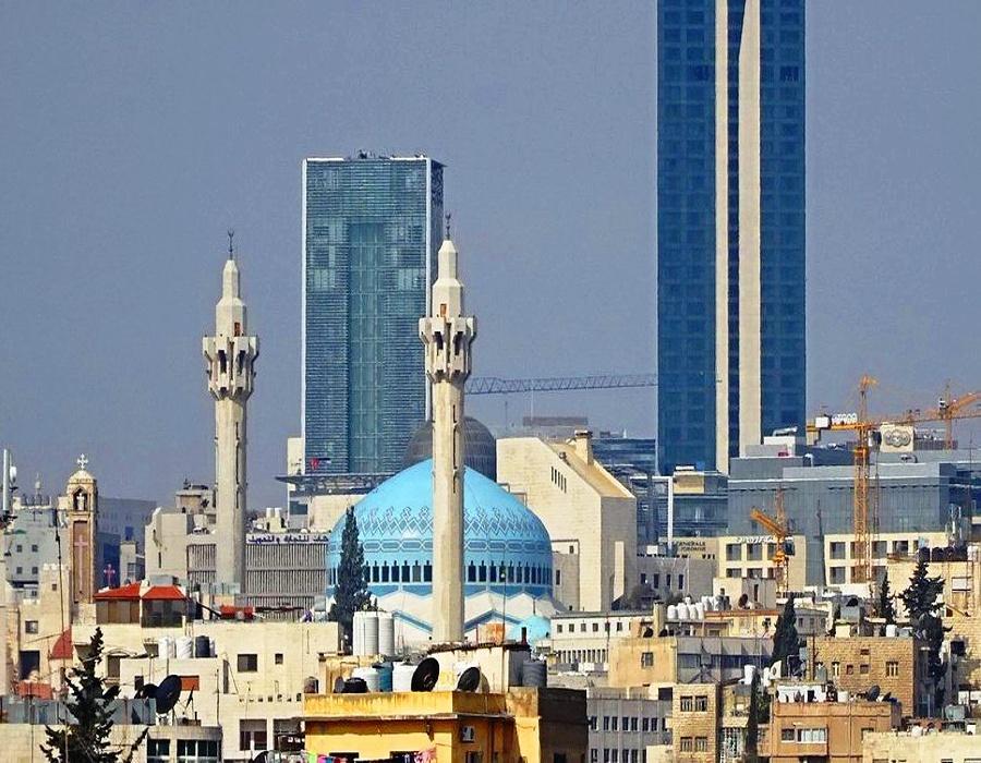 King Abdullah I Mosque - from Amman center