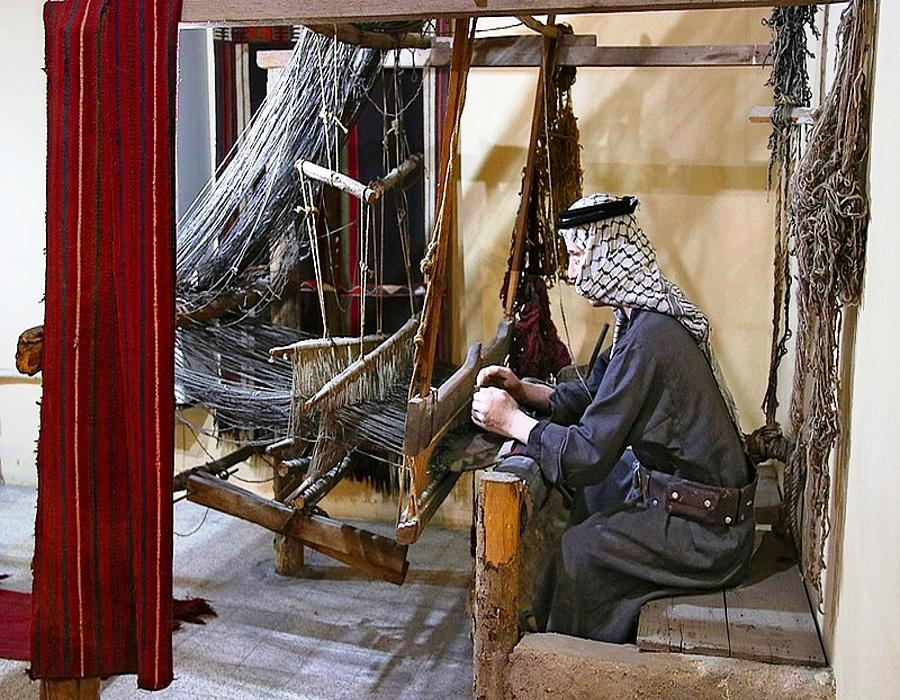 Weaving room with looms