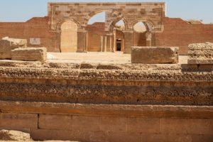 Qasr Al-mshatta : Remains of the elaborated ornamentation of the southern façade.