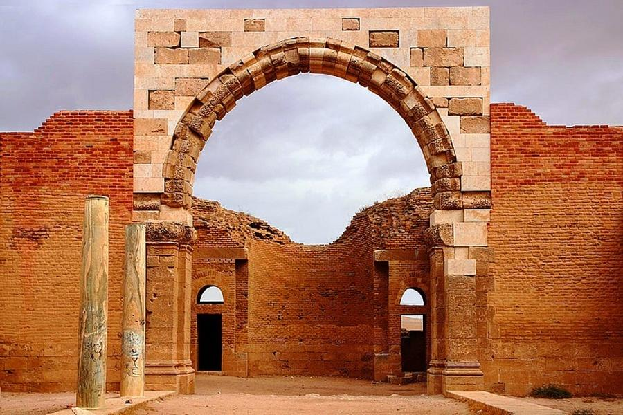 The large central arch leads to the caliph's audience hall, the throne room
