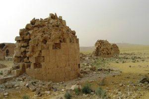 Qasr al-Mshatta surrounded by a square enclosure wall of 144 m each side including 25 semi-circular towers